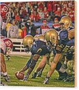 On The Goal Line - Notre Dame Vs Utah Wood Print
