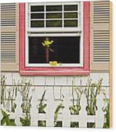 Open Window With Yellow Flower In Vase Wood Print