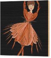 1 Orange Ballerina Wood Print