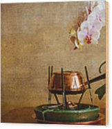 Orchid And Copper Fondue Wood Print