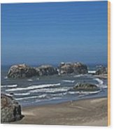 Oregon Beach And Rocks Wood Print