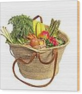 Organic Fruit And Vegetables In Shopping Bag Wood Print