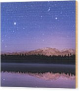 Orion Over Lake Annette Wood Print