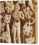 Ornately Sculpted Pillar At Leptis Magna In Libya Wood Print