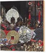 Outdoor Shop Sells Fake Chinese Antiques Wood Print by Yali Shi