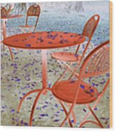 Outside Cafe  Wood Print