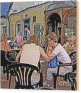 Outside Seating Wood Print