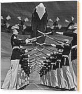 Over The Marine Corps Silent Drill Platoon Wood Print