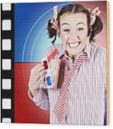 Overjoyed Nerd Woman At 3d Movie Premier Wood Print