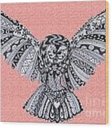 Owl In Flight Pink Wood Print