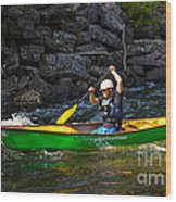 Paddler In A Whitewater Canoe Wood Print