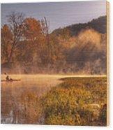 Paddling In Mist Wood Print