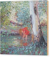 Paddling In The Creek Wood Print