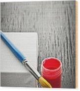 Paintbrush On Canvas Wood Print