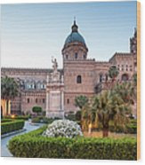 Palermo Cathedral At Dusk, Sicily Italy Wood Print