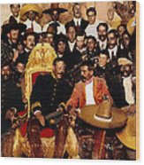 Pancho Villa In Presidential Chair And Emiliano Zapata Palacio Nacional Mexico City December 6 1914 Wood Print
