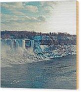 Panorama - Niagara Falls In Winter Wood Print