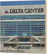 Panoramic Of Delta Center Building Wood Print