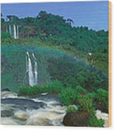 Panoramic View Of Iguazu Waterfalls Wood Print