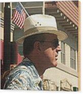 Parade Watcher Flag In Hat July 4th Prescott Arizona 2002 Wood Print