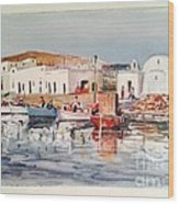 Paros-naousa Wood Print by George Siaba