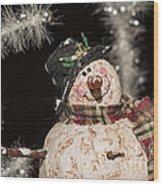 Partyin' Snowman Wood Print