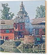 Pasupatinath Temple Of Cremation Complex In Kathmandu-nepal- Wood Print