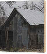 Patchwork Barn With Icicles Wood Print