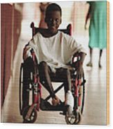 Patient In A Wheelchair Wood Print