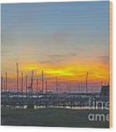 Patriots Point Sunset Wood Print