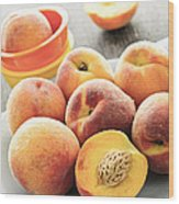 Peaches On Plate Wood Print by Elena Elisseeva