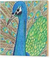 Peacock Wood Print by Carol Hamby