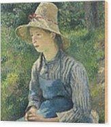 Peasant Girl With A Straw Hat Wood Print