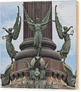 Pedestal Of Columbus Monument In Barcelona Wood Print
