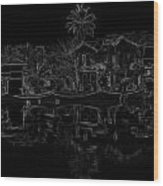 Pencil - View Of The Cottages And Lagoon Water Wood Print