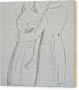 Pencil Sketch Of Couple In Love Wood Print