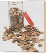 Pennies And Jar On White Background Wood Print