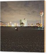 Pensacola Beach At Night Wood Print