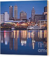 Peoria Illinois Skyline At Night Wood Print