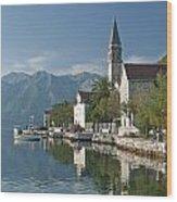 Perast Village On Kotor Bay Montenegro  Wood Print