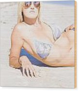 Person On Summer Holidays Wood Print