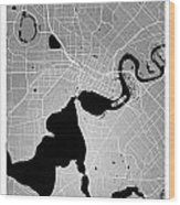 Perth Street Map - Perth Australia Road Map Art On Colored Backg Wood Print