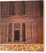 Petra By Night Wood Print