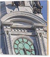 Philadelphia City Hall Clock Wood Print