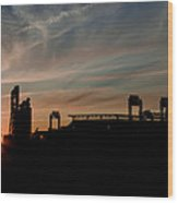 Phillies Stadium At Dawn Wood Print by Bill Cannon