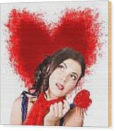 Photo Of Romantic Woman Holding Heart Shape Candy Wood Print