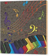 Piano Wavy Border With 3d Colorful Keys And Music Note Wood Print