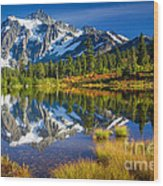 Picture Lake Wood Print by Inge Johnsson
