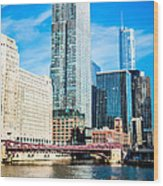 Picture Of Chicago River Skyline At Franklin Bridge Wood Print by Paul Velgos