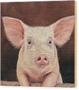 Pig Wood Print by David Stribbling